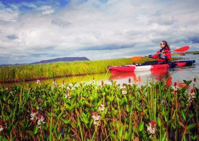 Kayaking during summer in Iceland