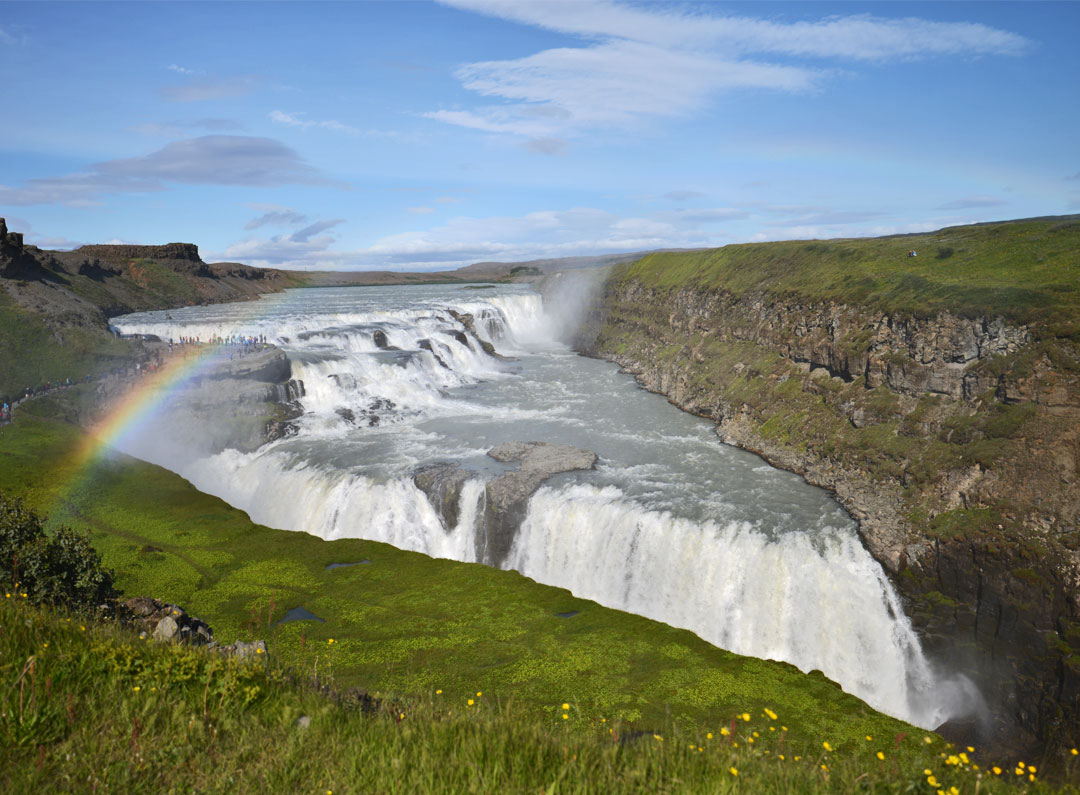 Rainbow hovering the Gullfoss Waterfall
