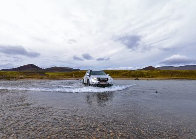 Iceland Luxury Tours Super Jeep river crossing in the highlands of Iceland