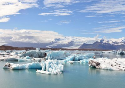 Icebergs floating in the Glacier Lagoon in Iceland