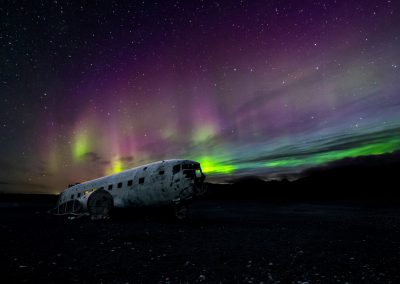 Airplane Wreck Iceland Northern Lights